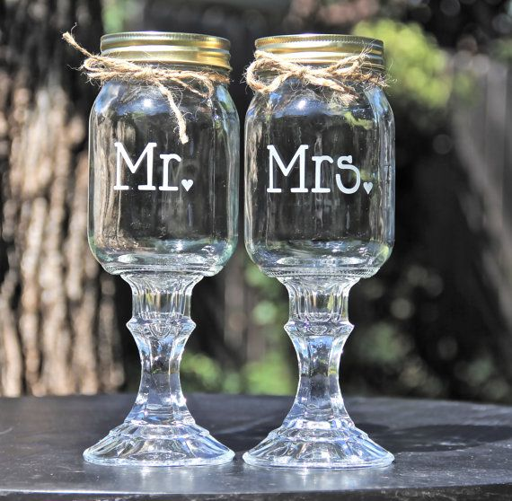 2 Redneck Hillbilly Wine Glasses, Mr and Mrs Redneck Wine glass set - Wedding