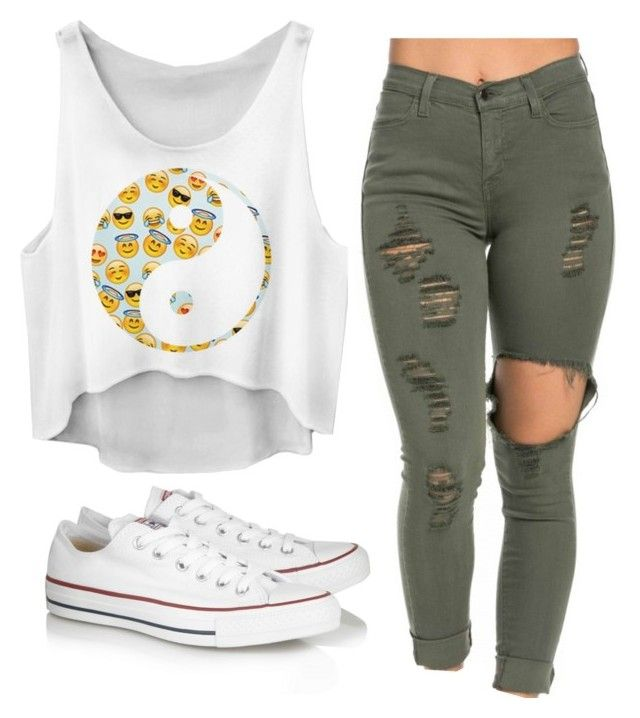 """""""Cute Chill Outfit For The Summer!☀️"""" by jjluvsselfies on Polyvore featuring Converse, outfit, chill and emojis"""