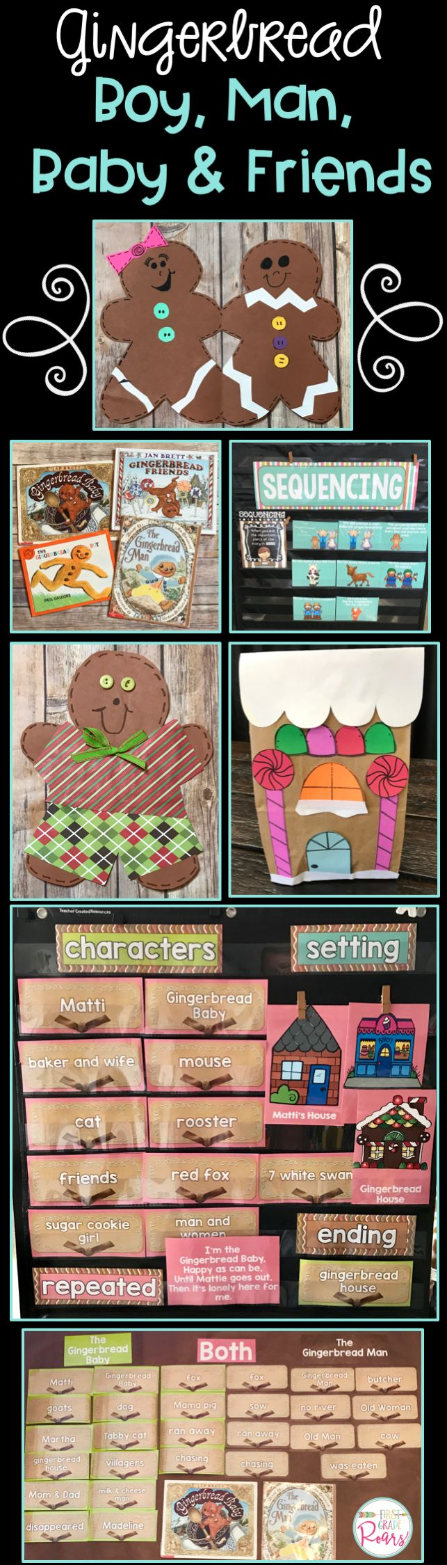 This Gingerbread set includes activities to go along with The Gingerbread Boy, The Gingerbread Man, The Gingerbread Baby, and Gingerbread Friends. The primary focus in these stories is sequencing and comparing and contrasting. There are anchor charts included, lesson plan guides, comprehension activities, writing, gingerbread boy craft, gingerbread friends craft, and gingerbread house craft. Perfect for kindergarten, first grade or second grade.