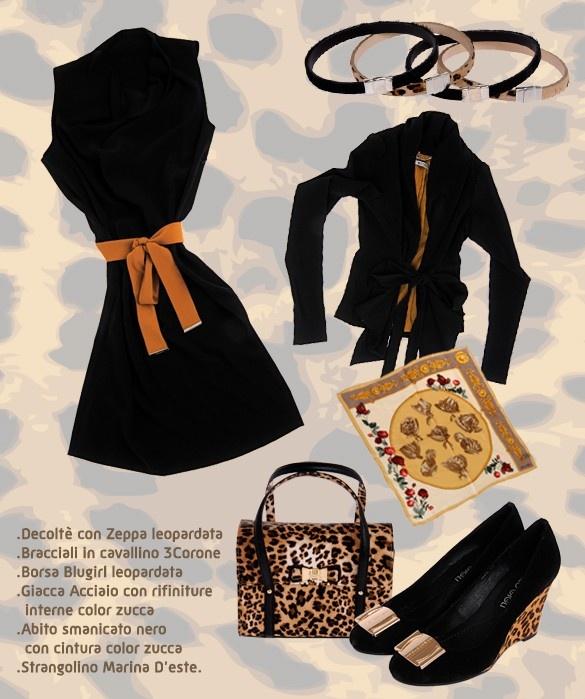 LOOK SAVANA    I colori caldi della savana sono proposti in questo nuovo Look scelto per voi!  I'arancio si impone al classico nero e la fantasia leopardo della borsa e delle scarpe accendono uno stile un po' selvaggio.  Il look è composto da un semplice abitino nero con cintura color arancio, dalla Giacca Acciaio con l'interno color arancio e il Strangolino Marina D'Este, da abbinare la borsa Blugirl leopardata, le decolté con zeppa leopardata e i Bracciali in cavallino 3Corone.