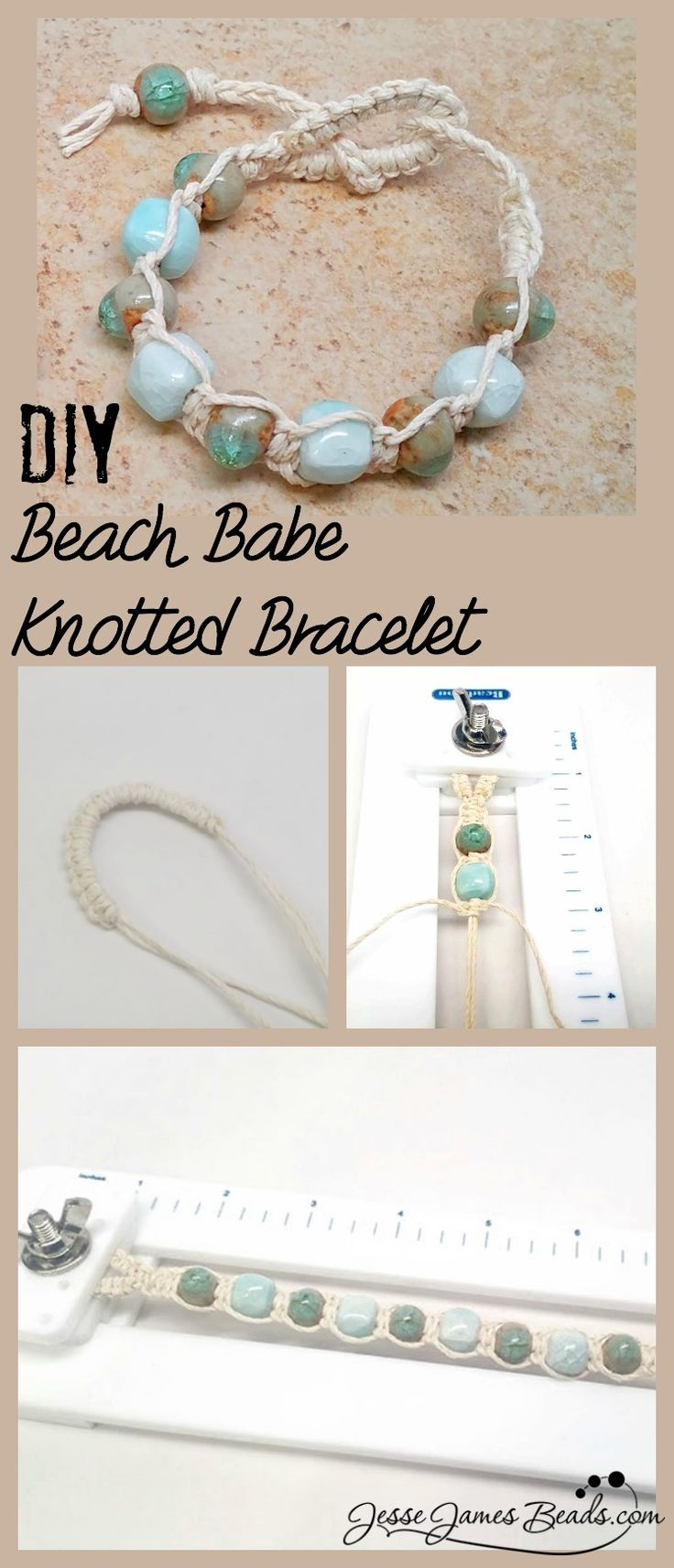 Beach Babe Knotted Bracelet - How to Make Hemp Jewelry from Jesse James Beads