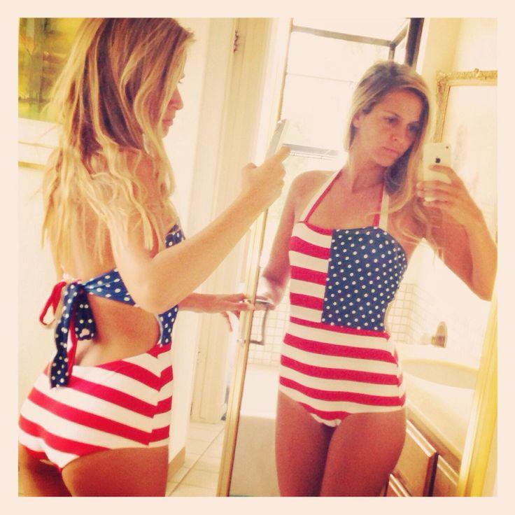 All-American Suit – Beverly Swimwear. One Piece swimsuit. Patriotic Vintage style swimsuit. Modest swimwear.