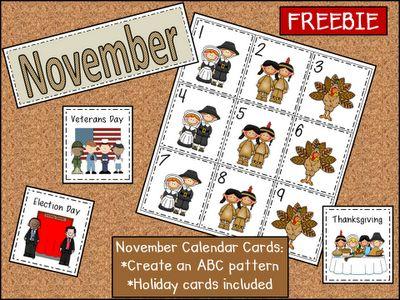 Peace, Love and Learning: Nov calendar cards.