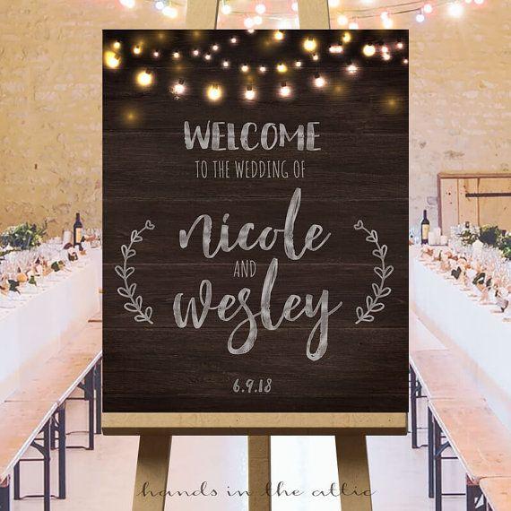 Welkom teken bruiloft bruiloft receptie van HandsInTheAttic op Etsy