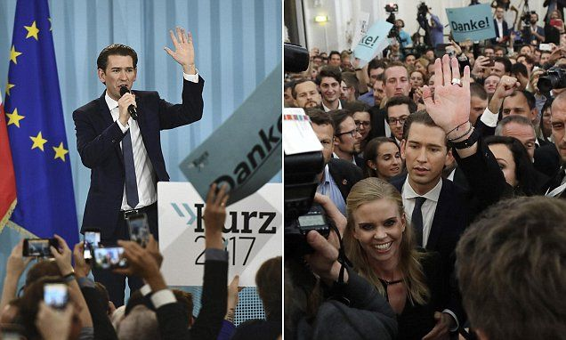 """#DailyMailUK .... """"The Eurosceptic leader of Austria's right-leaning People's Party (pictured) has declared victory in a national election that puts him on track to become the world's youngest leader."""""""