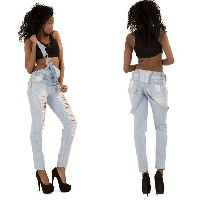 US$ 9.8000 Trendy Denim Wash Overall Jeans  LE5822