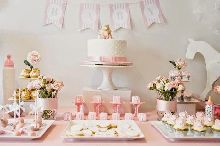 Baby shower decora o da mesa pesquisa google ideias for Como decorar mesa de postres para baby shower