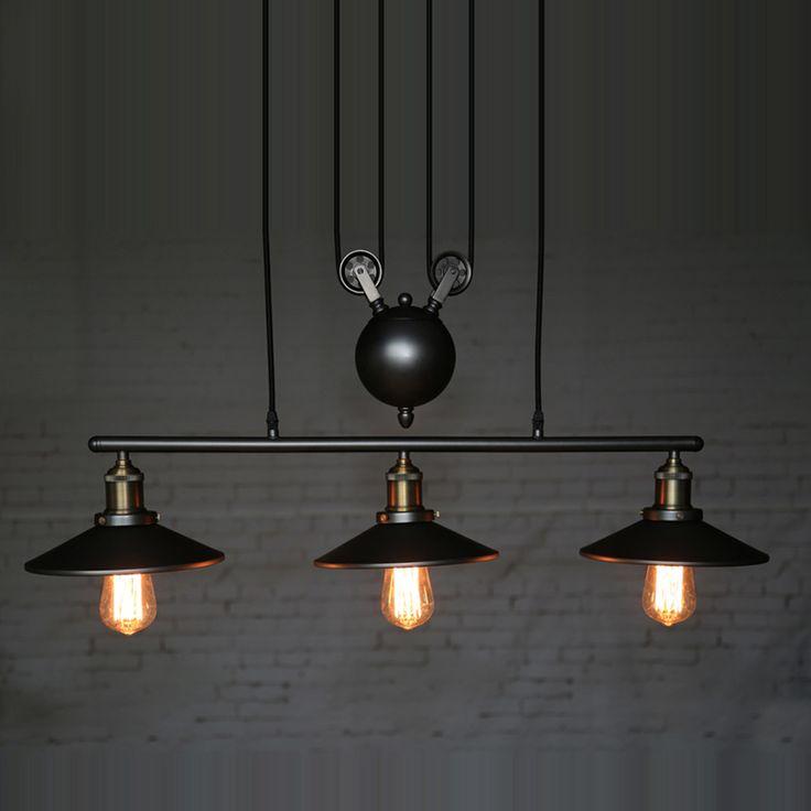 Lâmpadas pendentes criativos polia projeto ilha de luzes de ferro preto pendurar pintado luz pingente sala de jantar / Bar Retro 3 Heads lâmpada(China (Mainland))