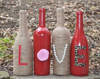 Upcycled LOVE Wine Bottle Decoration by KobersCreations on Etsy