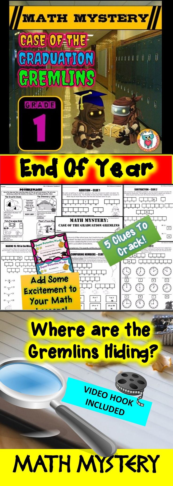 End of Year Math Mystery: Case of The Graduation Gremlins - First Grade Version. Fun math review activity!