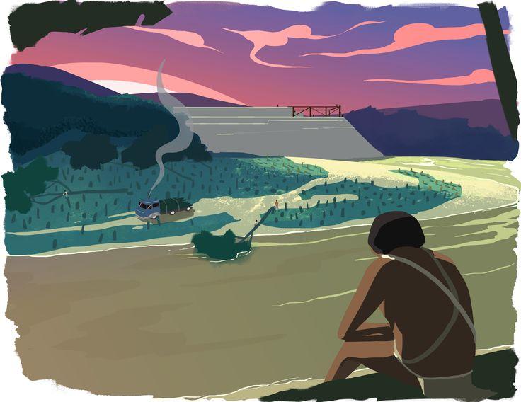 Keradó (6) Concept art #río #river #indígena #native #deforestación #deforestation #ilustración #illustration #concept art #artwork #background