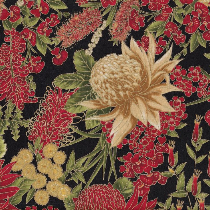 Australian Sun Grevillea Bottlebrush Banksia Native Flowers Quilting Fabric - Find a Fabric.  Available to purchase in Fat Quarters, Half Metre, 3/4 Metre, 1 Metre and so on.