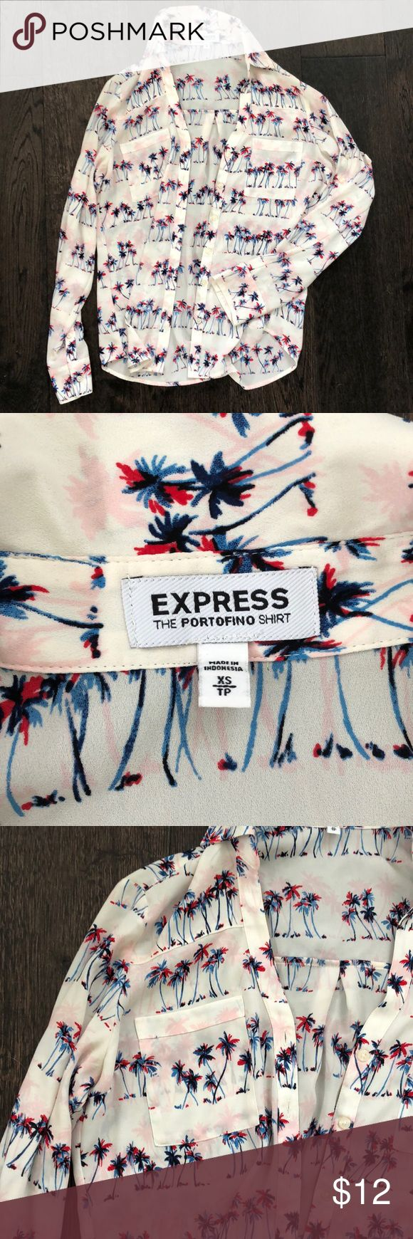 Express portofino shirt w Palm print Excellent condition, cream with neon red/pi…