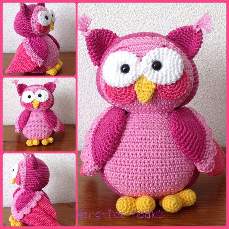 Gehaakte uil / crochet owl in pink