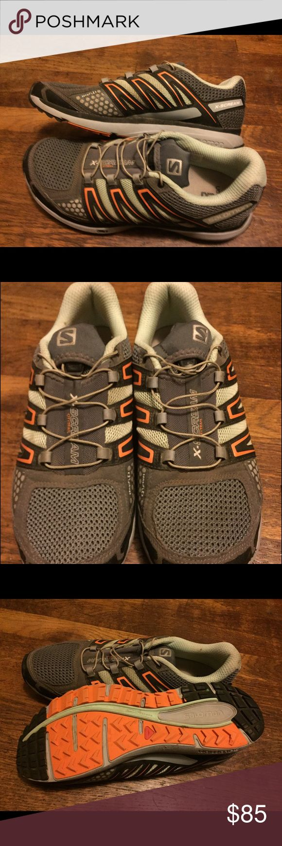 Women's Salomon X-Scream Trail Running shoes 8.5 Gently used, Salomon X-Scream Trail Running shoes. Neutral running shoe with durable, aggressive lugs for traction on the trail, great shoes! Salomon Shoes Athletic Shoes