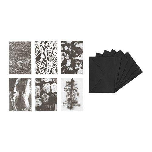 IKEA - SVÄRTAN, Kunstkaart met envelop, De kunstkaarten zijn perfect om weg te geven omdat ze in een zwarte geschenkverpakking zitten.Op de witte achterkant van de kaart is voldoende plaats voor een persoonlijke boodschap.Je kan je huis persoonlijker maken met kunstwerken die jouw stijl uitdrukken.