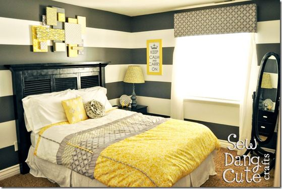 Gray and yellowGuest Room, Colors Combos, Grey Bedrooms, Stripes Wall, Guest Bedrooms, Yellow Bedrooms, Colors Schemes, Master Bedrooms, Striped Walls
