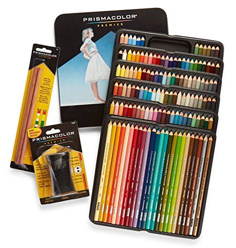 Prismacolor Premier Colored Pencils Soft Core 132 Pack (4484) with 2 Blender Pencils (962) & Pencil Sharpener (1786520)