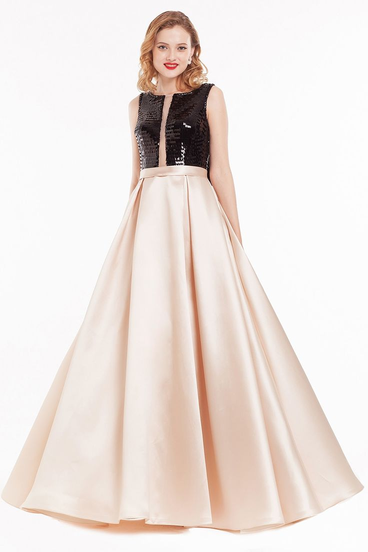 Raphaela Dress: High Neck Ivory Skirt Fit & Flare Long Prom Dres | Glam Union
