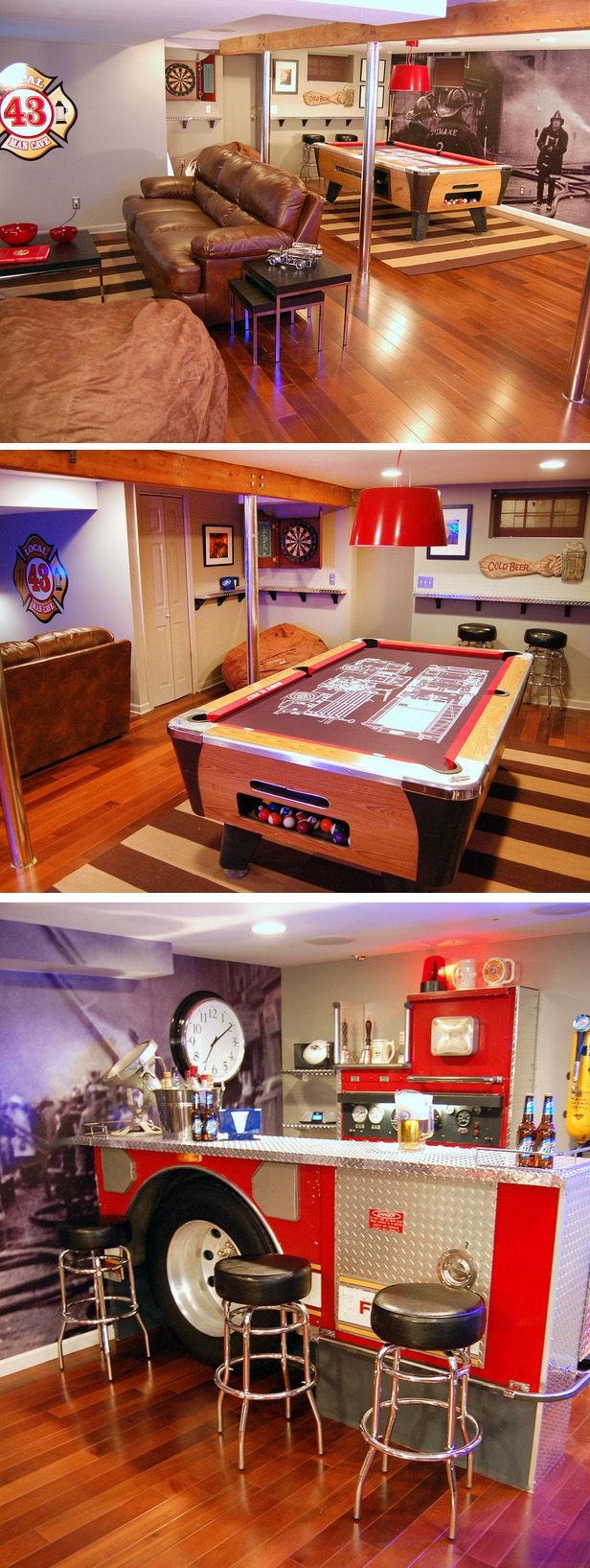 Fireman's Pub-Themed Man Cave (with fire scene wall mural, fire pole support beams, a custom fire engine design pool table and converted fire truck bar) | Shared by LION