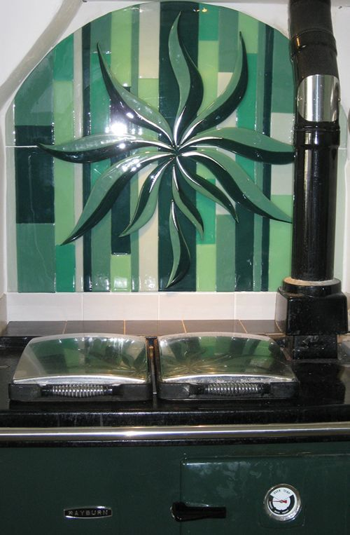Fused Glass Splashback by Nicky Exell available to order at Blue Indigo Gallery