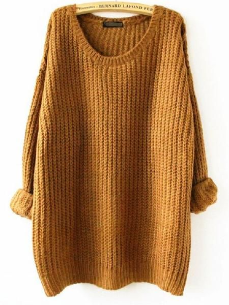 Megan Oversized Knit Sweater - color is ginger brown