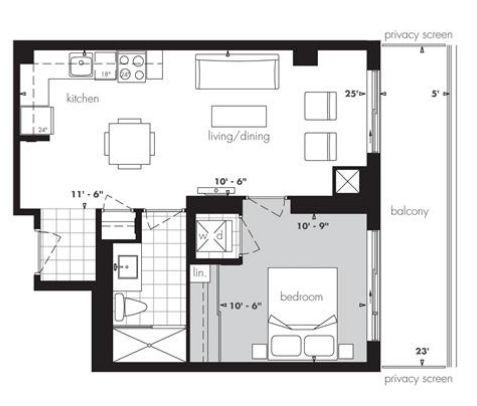 Encore at equinox plan 570 1br 1bath 570sqft the for Apartment floor plans toronto