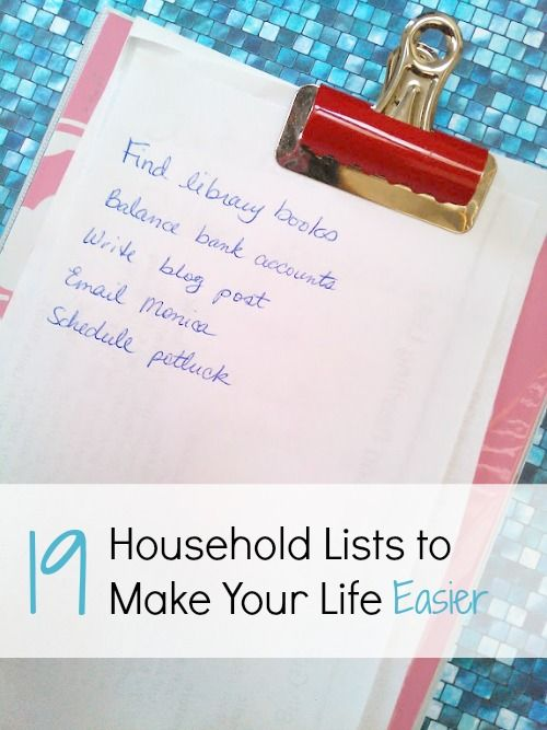 Household Lists to Make your Life Easier. I really need to start using more of these!
