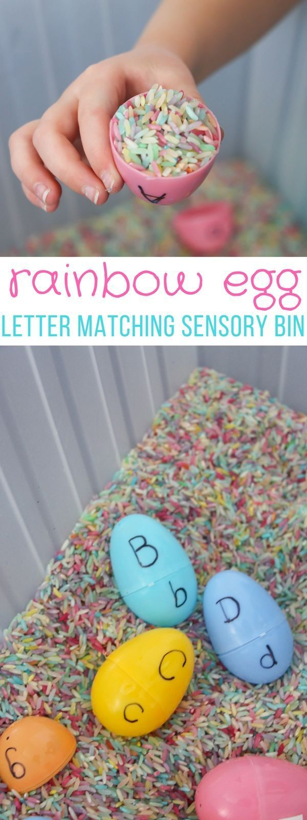 Easy literacy building sensory bins like this Rainbow
