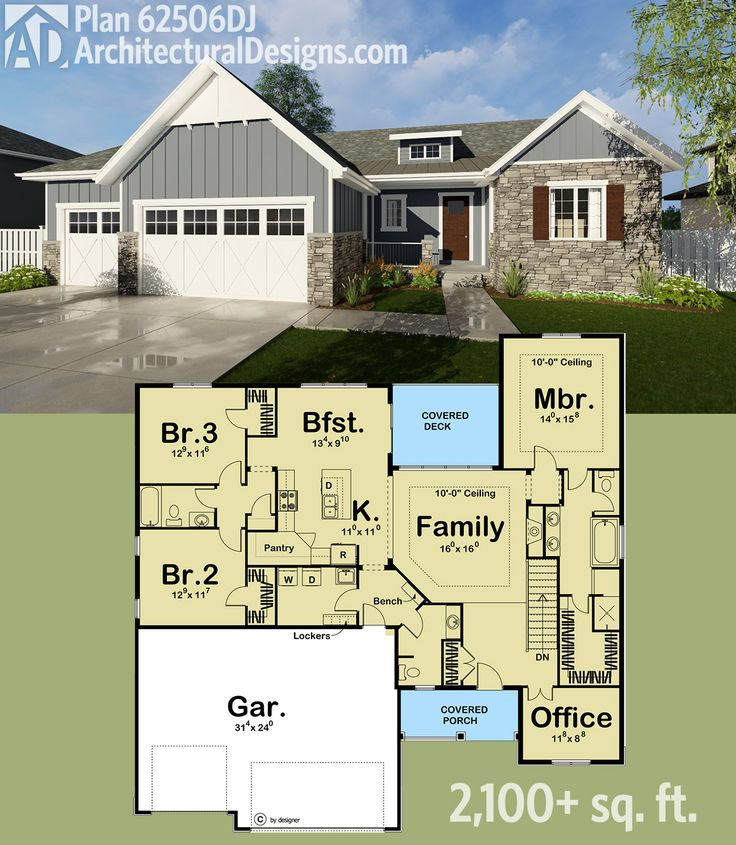 Architectural Designs Bungalow House Plan 62506DJ. 3 Beds, 2.5 Baths And  Over 2,100 Square