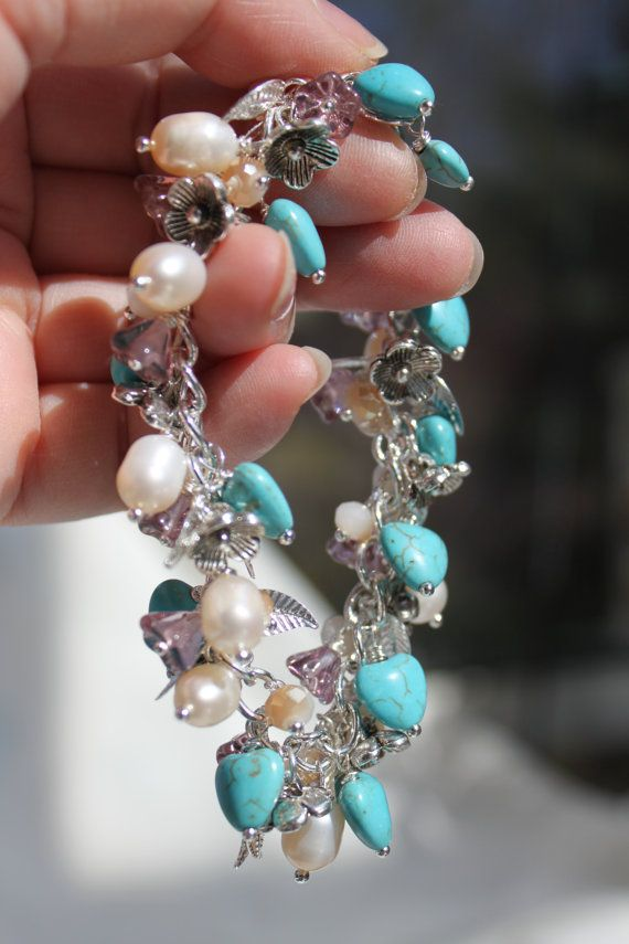 Artisan Turquoise Hearts Gemstone and Pearls by studiogracie