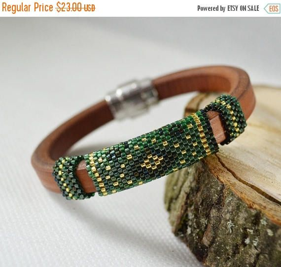 ON SALE Green Brown Men's braided bracelet strap bracelet #mensbracelet, #leathermenbraclet