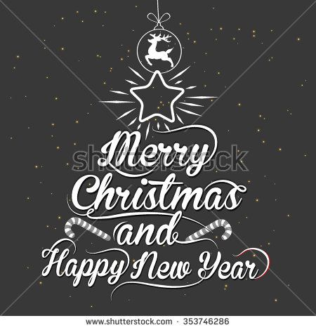 Vintage Merry Christmas And Happy New Year Calligraphic - stock vector #background #calligraphy #card #celebration #christmas #conceptual #cover #creative #decorative #design #drawing #element #font #graphic #happy #headline #holly #illustration #inscription #invitation #label #letter #lettering #merry #new #old #paper #party #phrase #print #red #retro #sign #style #text #title #typography #vector #vintage #white #writing #xmas #year