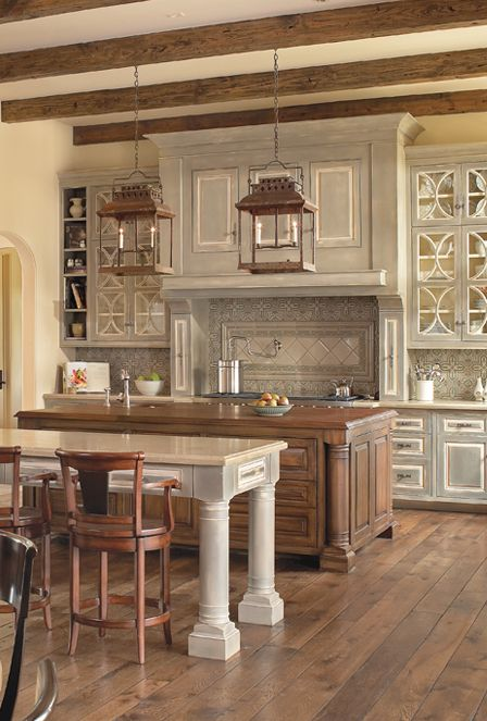 Decorative Kitchen Cabinetry From Anything But Plain   Love The Mix Of The  Wood Island,. Functional ...
