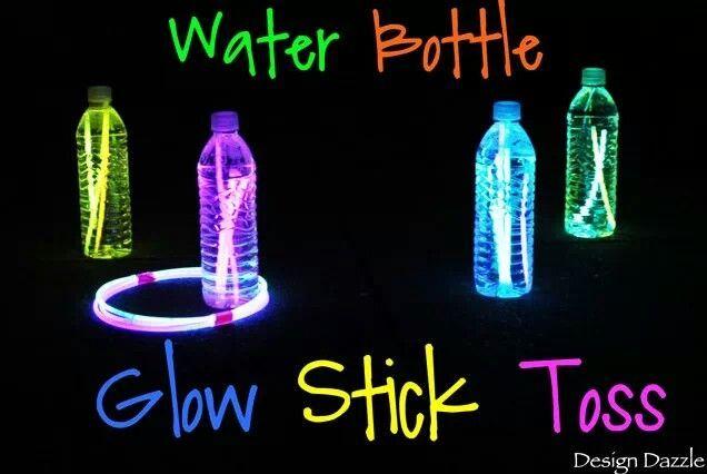 Camping Game- Water Bottles Filled + Glow Sticks + Glow Rings = Glow-In-Dark Ring Toss #Camping