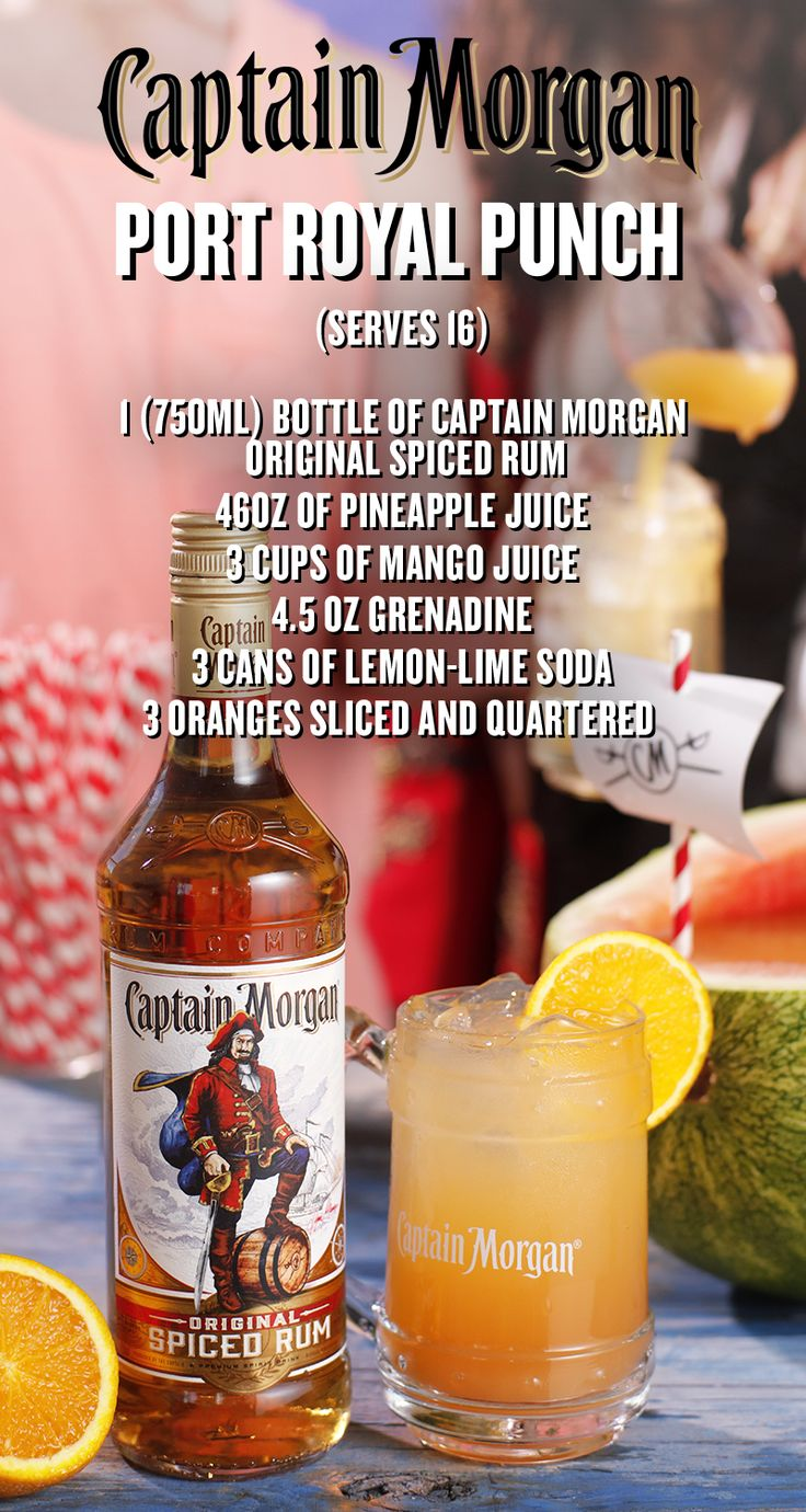 Watermelons are the new wave, and this block party  is ready to set sail. Mix up some Port Royal Punch this Labor Day for you and a few friends. Combine 2 (46oz) cans of pineapple juice, 3 cups of mango juice, 1 (750ml) bottle of Captain Morgan Original Spiced Rum, 4.5 oz grenadine, 3 oranges sliced thinly and quartered, and  3 cans of lemon-lime soda into a halved and scooped out watermelon. Mix well and pour into cups over  ice, Captain.