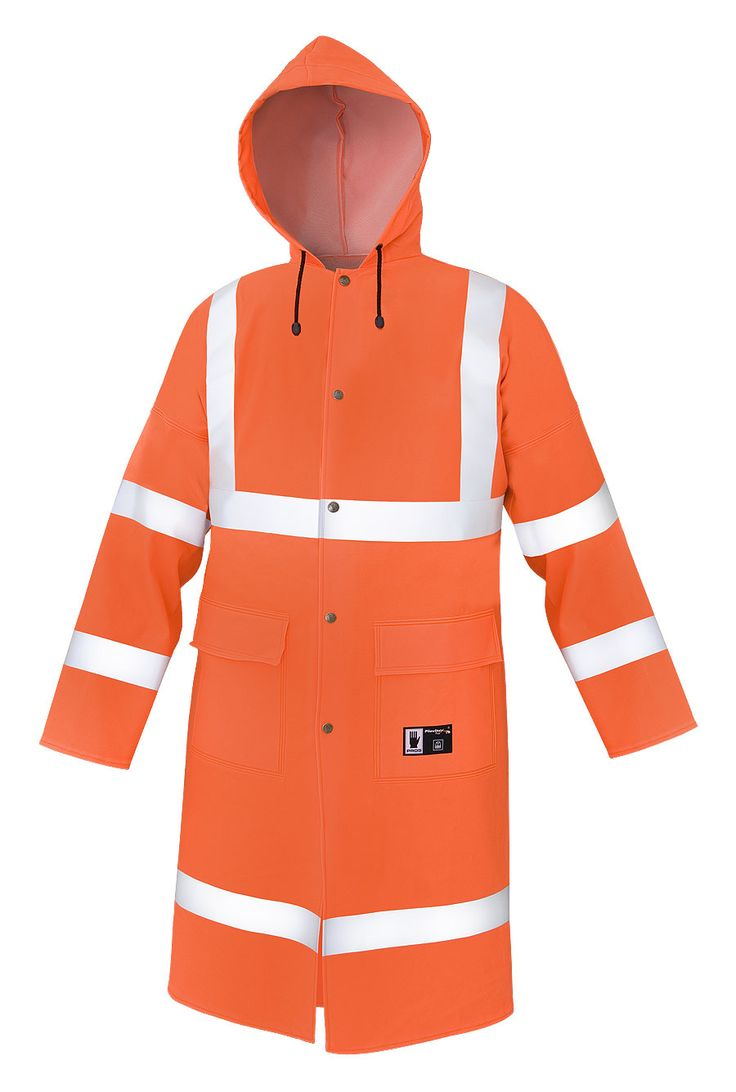 WATERPROOF WARNING COAT Model: 106R The coat is fastened with snaps. The model has a hood, 2 welded pockets with protective flaps. Reflective tapes on the coat make workers more visible. The model is made on waterproof fabric Plavitex Fluo and it has been designed to be used at unfavorable weather conditions where visibility is limited. Thanks to double welded high frequency seams the product protects against rain and wind. The coat conforms to EN ISO 13688, EN 343 and EN ISO 20471…