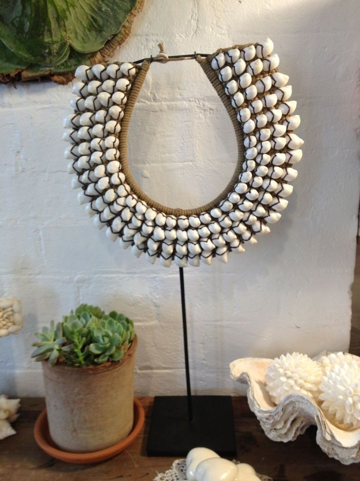 White Cowrie Tribal Necklace ON Stand 52cm In Sydney NSW