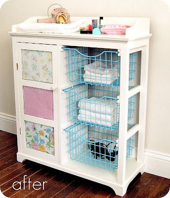 A happy little weekend project. Good way to upcycle a thrift store, garage sale, or old piece of furniture. Step by step tutorial. This piece she used for her bathroom. I love it! :)