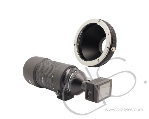 GoPro Nikon AI/NF/ZF Manual Focus Lens C-mount Adapter for Hero Camera             http://www.dsstyles.com/product/gopro-nikon-ai-nf-zf-manual-focus-lens-c-mount-adapter-for-hero-camera