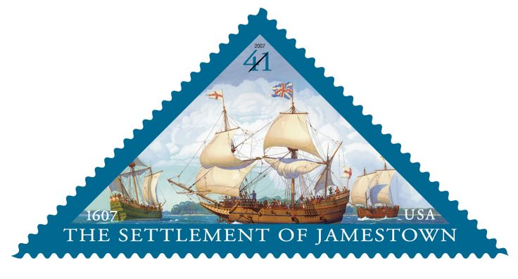Issued in 2007, this triangular stamp commemorates the 400th anniversary of the founding of the settlement of Jamestown, Virginia.