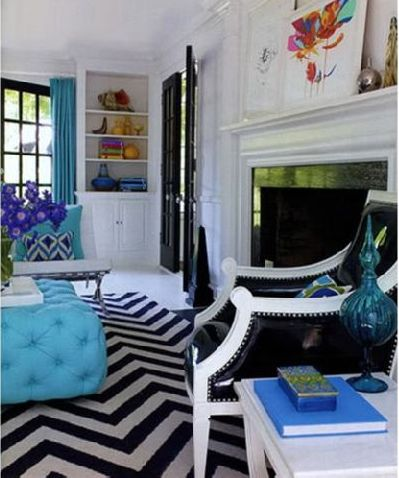 A black and white chevron rug is a timeless and stylish basic that can be used in any room, with any color or style decor.