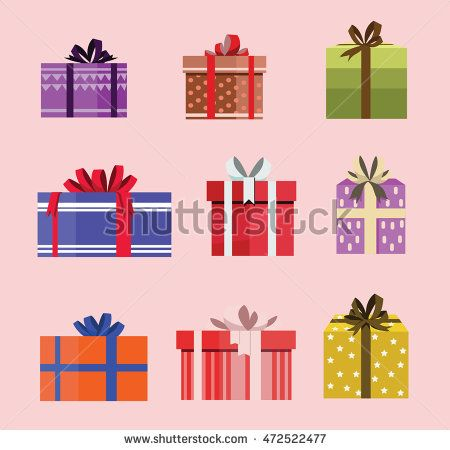 gift box birthday set present with different pattern. vector illustration 98
