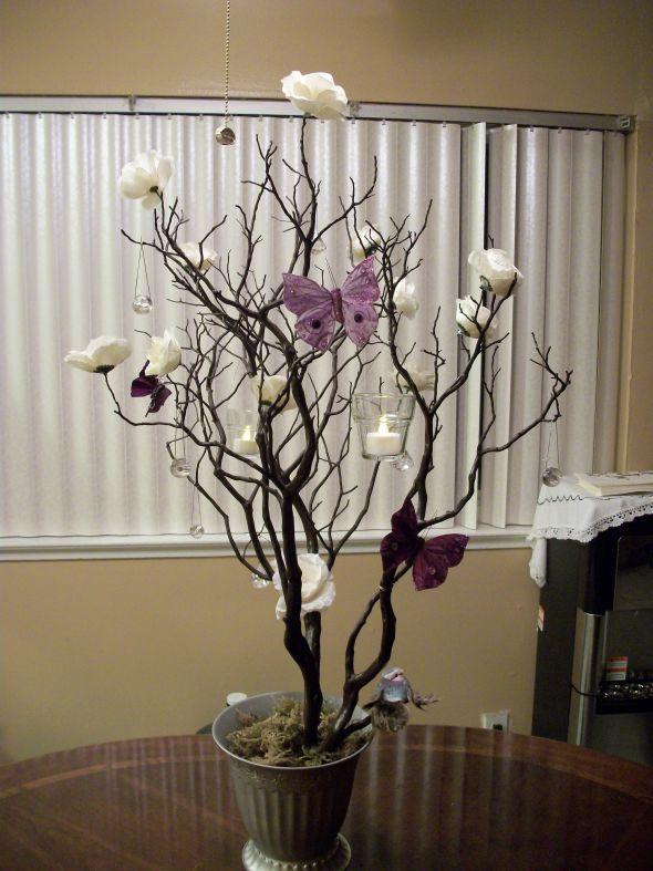 DIY Manzanita Tree Centerpiece :  wedding butterfly hanging votives ivory manzanita tree orchid purple silver 101 0434