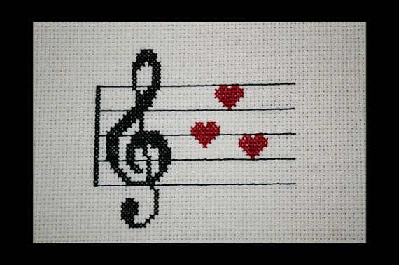 Music Clef Love PDF Cross Stitch Pattern by BlueTopazStitchery