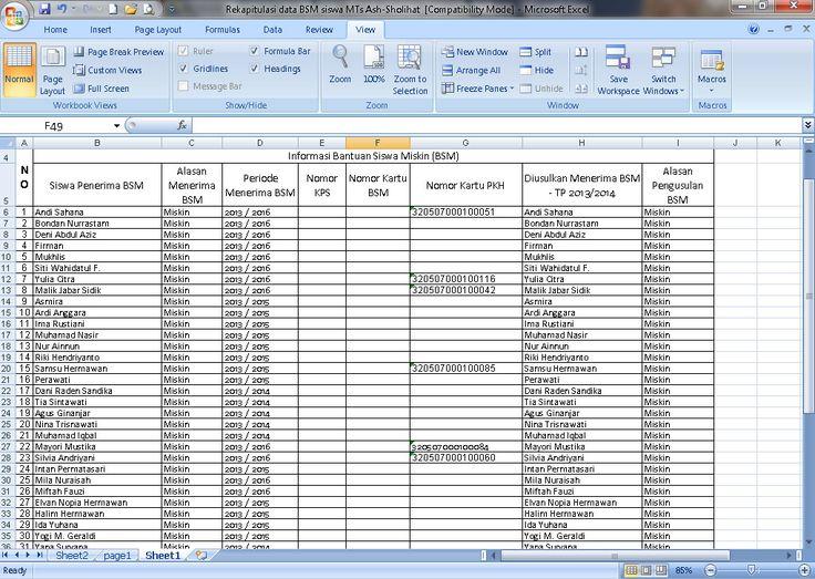 Contoh Rekapitulasi Data Bantuan Siswa Miskin (BSM) Tahun 2016-2017 Format Microsoft Excel