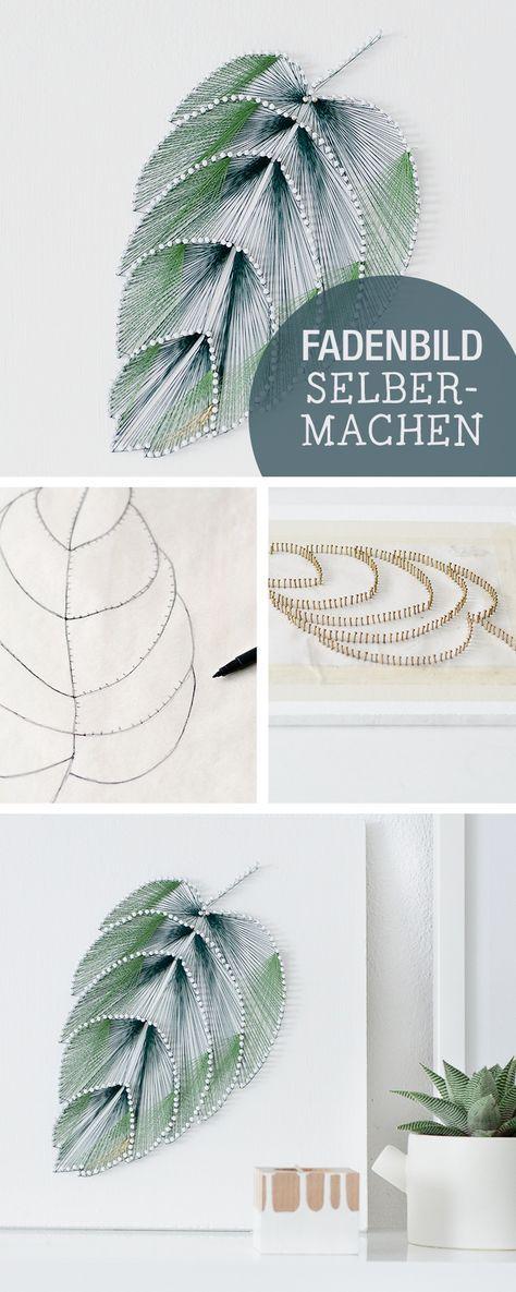 Cute DIY Anleitung f r ein Fadenbild im Botanik Stil Wanddeko selbermachen einrichten