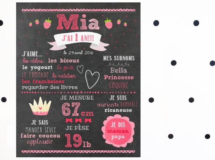 Affiche personnalisée 1er anniversaire_FICHIER NUMÉRIQUE, souvenir fête 1 an, princesse et fraises, chalkboard, photo smash the cake par MOMYboutique sur Etsy https://www.etsy.com/ca-fr/listing/272896584/affiche-personnalisee-1er