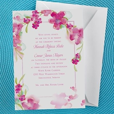 Watercolors in French Floral Wedding Invitation , $1.29  #floralweddinginvitations #gardenweddinginvitations #wedding #gardenwedding