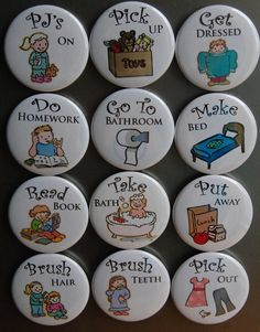 Any 40 Small Chore Chart Magnets Magnet Buttons by UsefulButtons